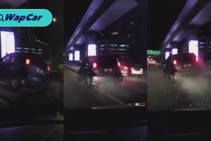 VIDEO: Perodua Myvi melalui pembahagi jalan seperti sebuah trak pikap!