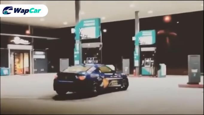 This Subaru BRZ is under fire for drifting inside a petrol station 01