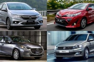 Which B-segment sedan offers the best power-to-weight ratio?