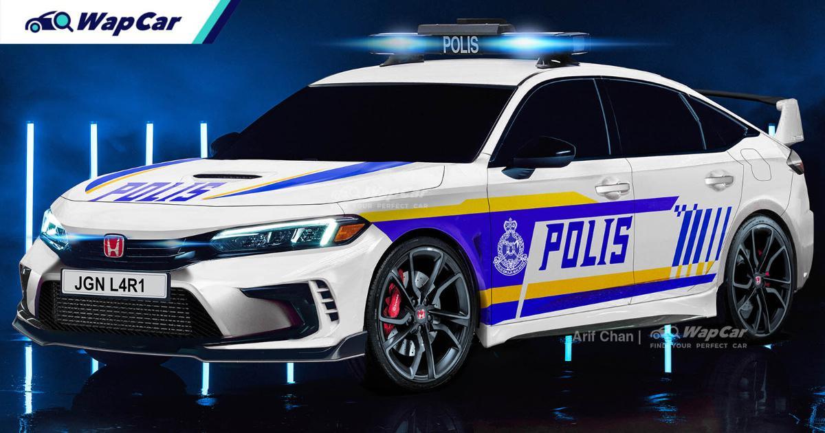 Rendered: 2022 Honda Civic Prototype imagined as Malaysian Police Car 01