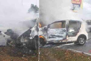 Myvi catches fire in the same location as fatal Bezza accident from a day ago