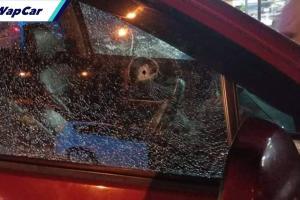 Perodua Alza 'diserang' objek misteri sampai cermin pecah