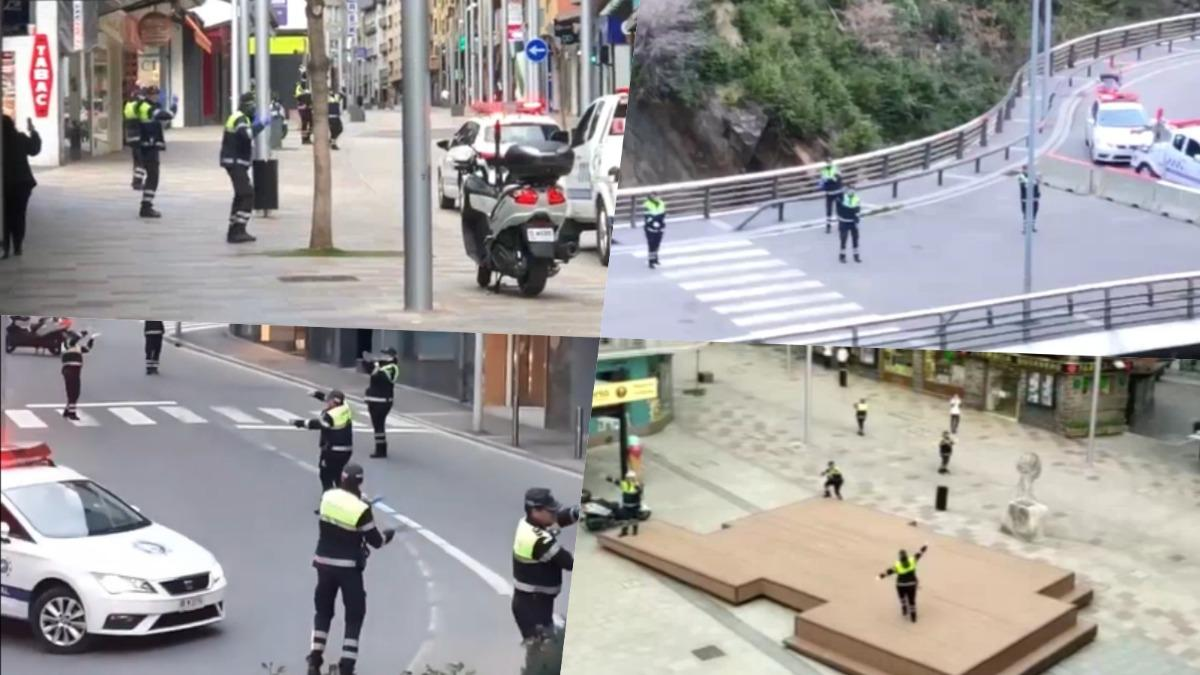 Andorra Police performing Baby Shark on the streets
