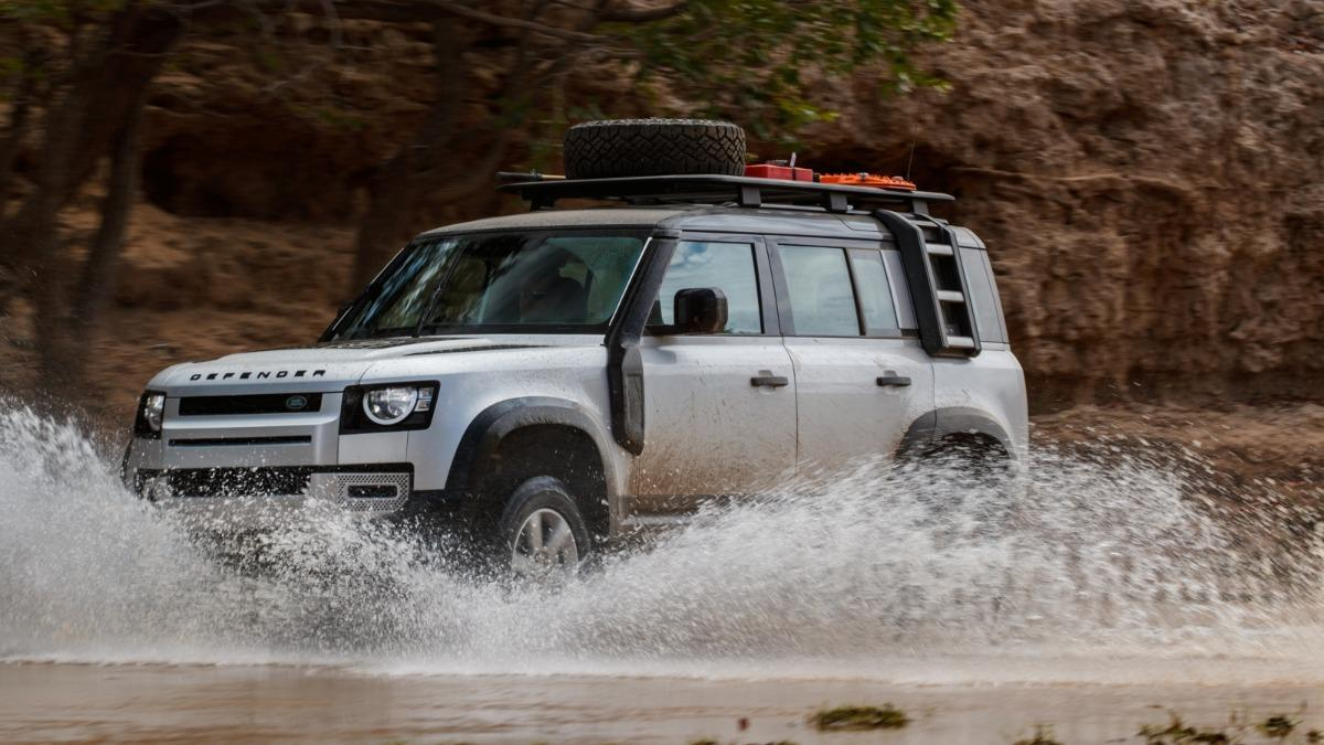2020 Land Rover Defender driving in water