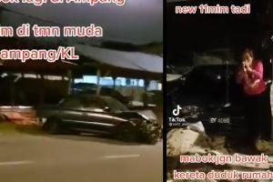 Pemandu mabuk Proton Wira hentam semua kereta yang parkir tepi jalan!