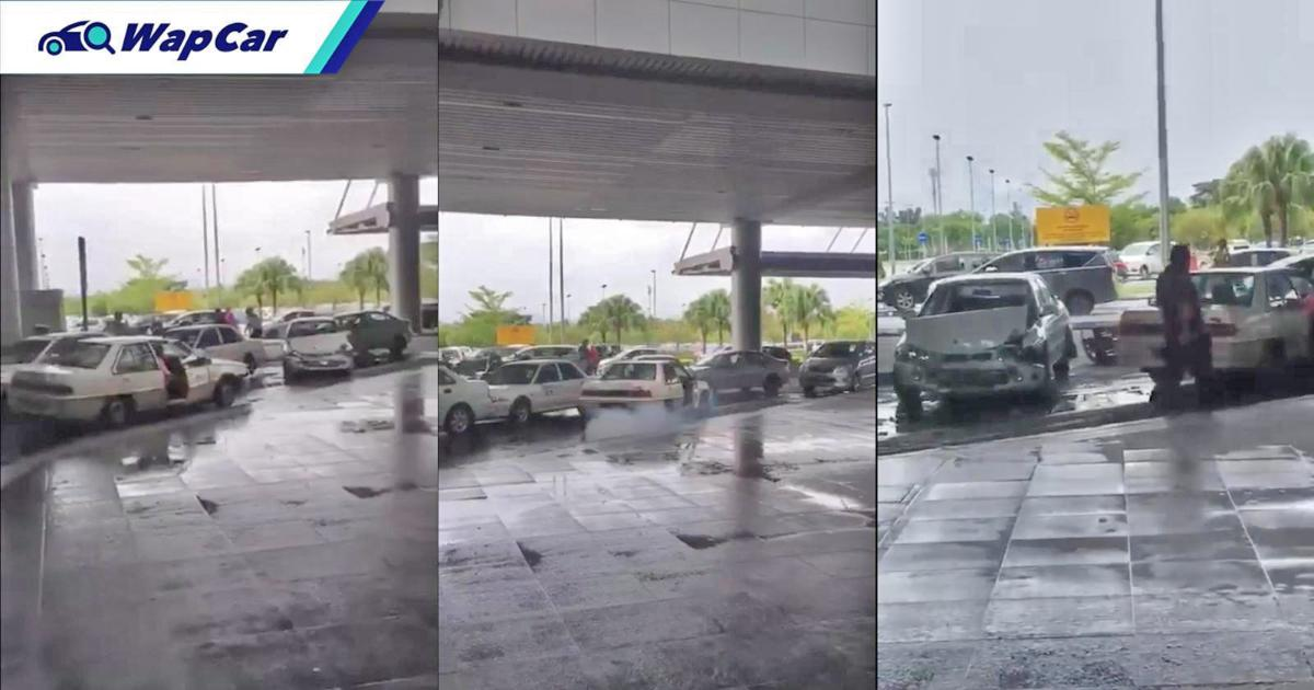 Taxi driver rams into other taxis in Sabah airport 01