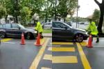 BMW attempts to run over Rela when blocked from driving into one-way street