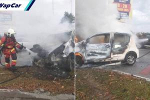 Perodua Myvi terbakar langgar Proton X70 di tempat sama Bezza dirempuh Toyota Hiace