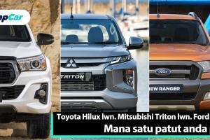 Toyota Hilux vs. Mitsubishi Triton vs. Ford Ranger: Mana satu patut jadi pilihan anda?