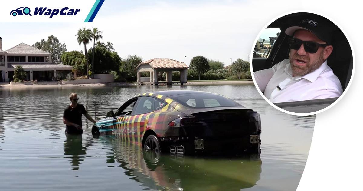 Watch: YouTuber tries to turn his Tesla Model S into a submarine, didn't exactly go well 01