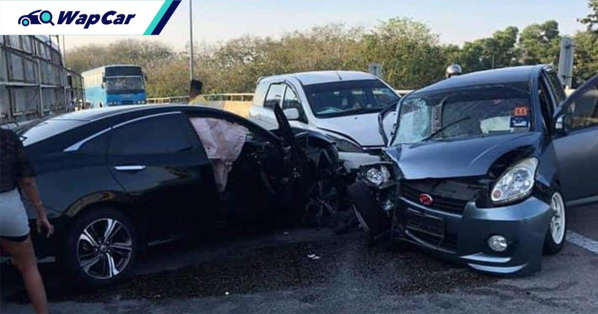 Honda Civic driven against traffic, causes 4 vehicle pile-up in Penang 01