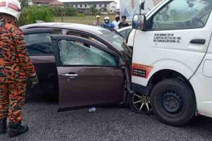 Toyota Hiace vaults over curb into head-on collision with Perodua Bezza killing 3