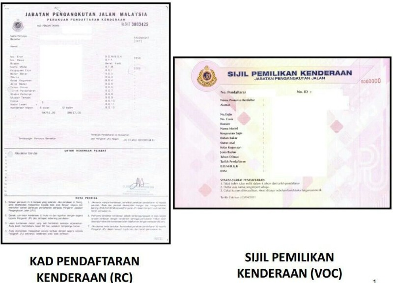 JPJ vehicle registration card