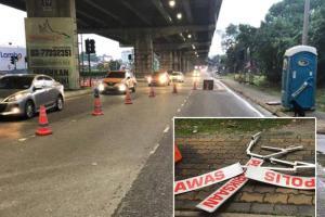 Perodua Myvi langgar sekatan jalan raya polis