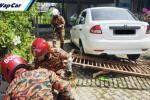 Proton Saga rempuh pagar rumah, hempap dan sepit wanita Indonesia hingga parah di KK