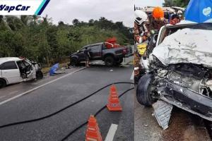Toyota Hilux merempuh Chevrolet Optra di laluan bertentangan, empat sekeluarga terkorban