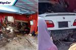 Honda Civic VTEC buka kaw, sampai terbabas rempuh kedai makan