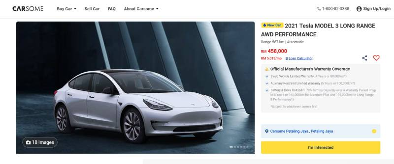 Carsome offers new Tesla Model 3 Performance in Malaysia for RM 458k 02