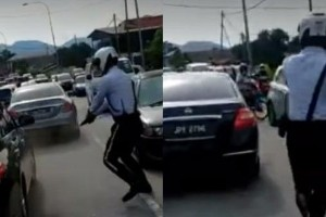 Caught on camera: Policeman fired shots at escaping Nissan Teana