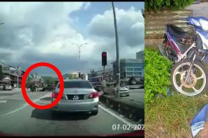 Penunggang motosikal cedera parah akibat Proton Persona buat 'u-turn' haram