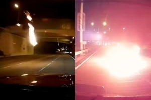 Caught on camera: Malaysian driver makes a near miss from a Molotov cocktail