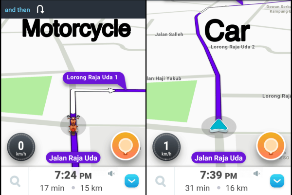TIL: Waze motorcycle mode will show you a different set of instructions!