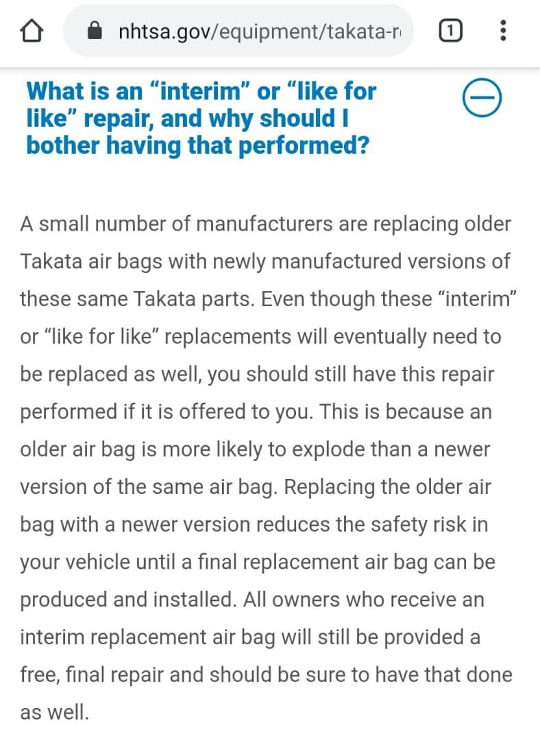 Honda airbag replacement explanation