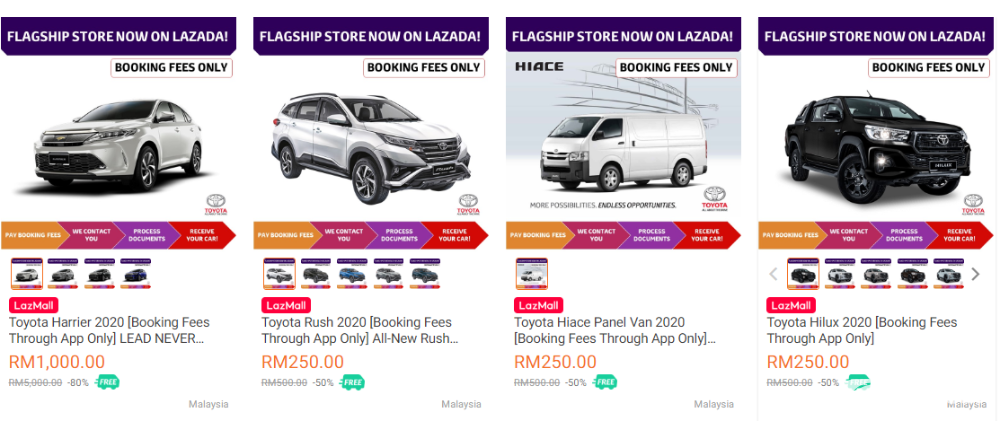 Book your new Toyota from just RM 250 on Lazada! 02