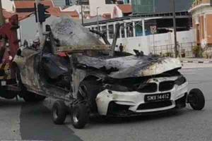 New video footage of BMW M4 crash shows sixth victim running into fire
