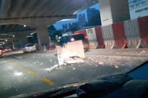 Bongkah konkrit terjatuh atas jalanraya, SUKE Expressway nafi bukan daripada kerja pembinaan!