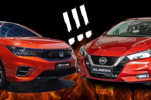 Nissan Almera vs Honda City, turbo atau hibrid?