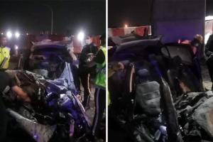 Proton Persona dan Perodua Viva bergesel, langgar tiang lebuhraya SUKE, seorang maut