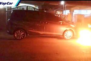Ah Long membakar kereta Toyota Sienta milik isteri peminjam?