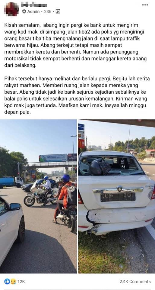 JSPT Melaka nafi konvoi VIP jadi punca kemalangan kereta-motosikal. Siapa betul? 02