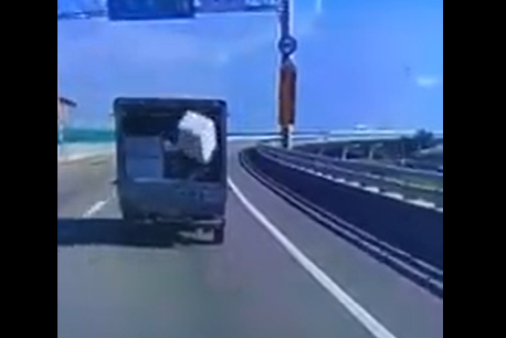 Watch: Styrofoam box skilfully bounces back into the truck bed