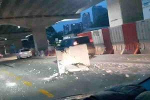Concrete block on MRR2 unrelated to SUKE highway construction