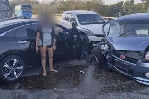 Honda Civic driven against traffic, causes 4 vehicle pile-up in Penang