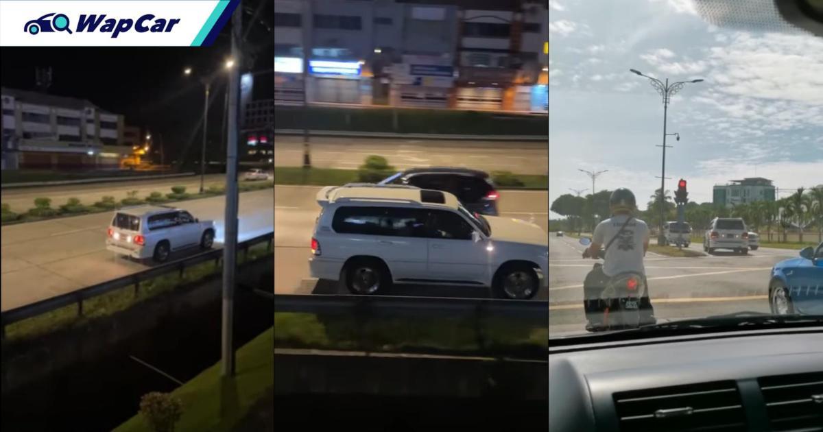 Police investigating Toyota Land Cruiser seen driving in reverse on Sandakan main roads 01