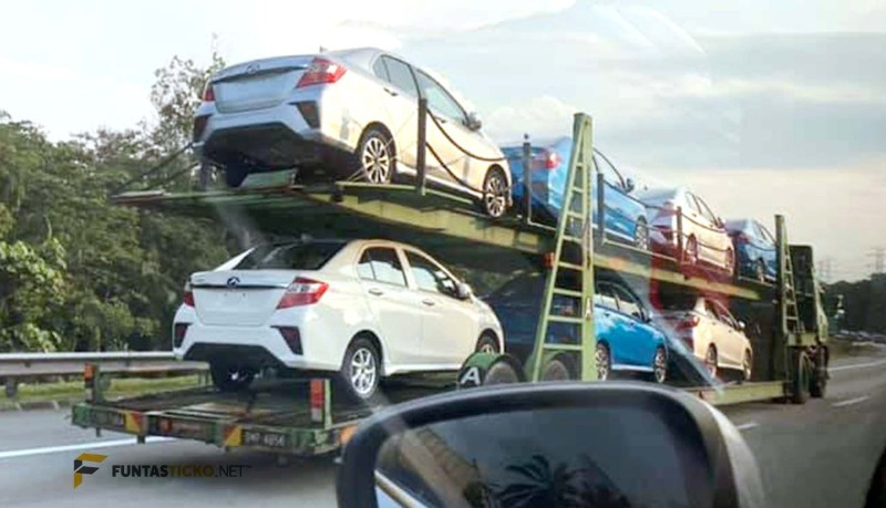 2020 Perodua Bezza spyshot on trailer