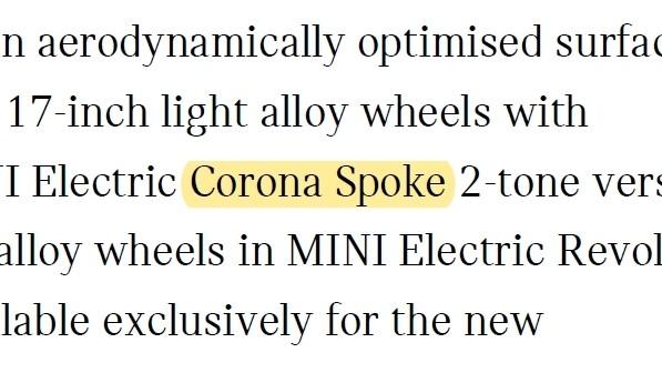 MINI renames the 'Corona Spoke' wheel for electric MINI SE 02