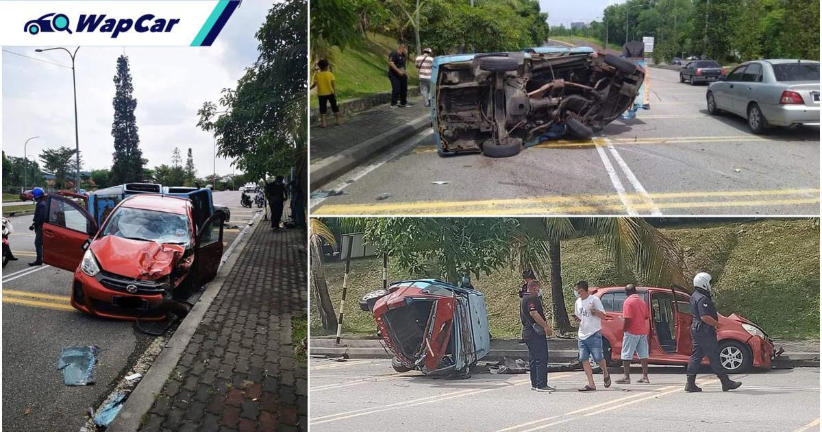 Perodua Myvi 'meroket' langgar van Nissan Vanette & Proton Waja sampai hancur, tewas di tangan polis 01